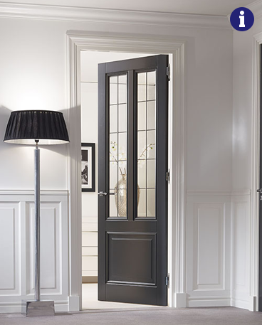 klassieke binnendeur zwart met glas in lood