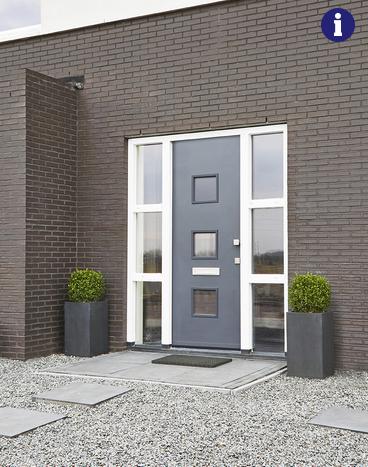 Moderne voordeur vierkant glas