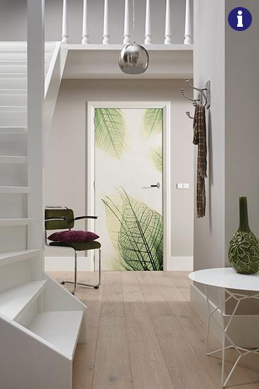 Binnendeur met print bladeren