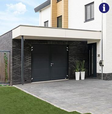 Novoferm duoport garagedeuren brede banen antraciet